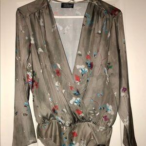 Zara *HARD TO FIND* floral bodysuit blouse